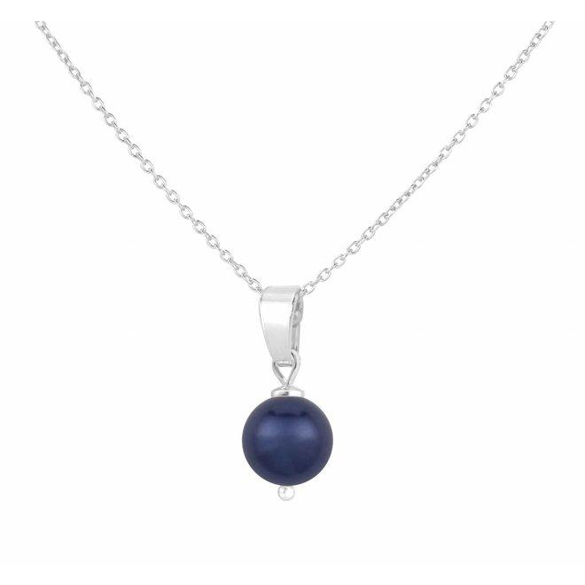 Halskette Perle Anhänger blau - Silber - 1524