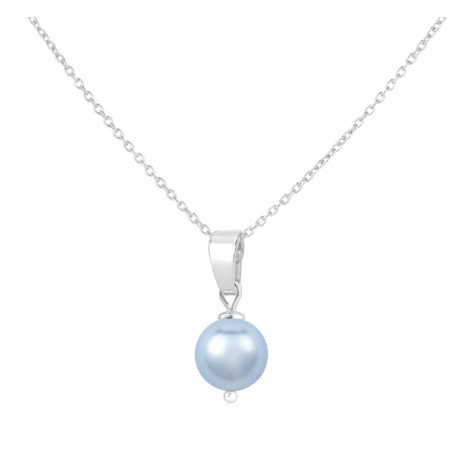 Necklace light blue pearl pendant - silver - 1528