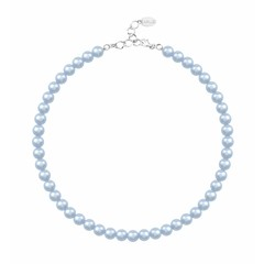 Pearl necklace light blue 8mm - silver - 1534