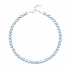 Perlenhalskette hellblau 8mm - Silber - 1534