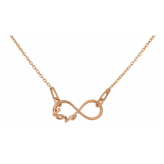 Necklace infinity pendant - rose gold plated silver - 1537