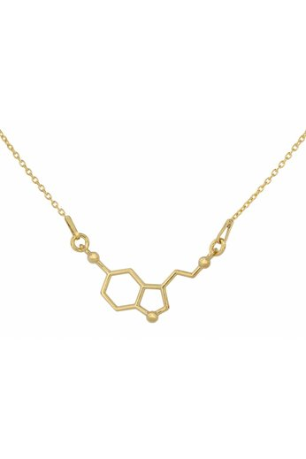 Halskette Serotonin Molekül Anhänger - Silber vergoldet - ARLIZI 1539 - Kendal