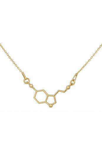 Necklace serotonin molecule pendant - gold plated silver - ARLIZI 1539 - Kendal
