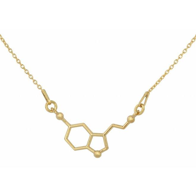 Necklace serotonin molecule - 925 silver gold plated - 1539