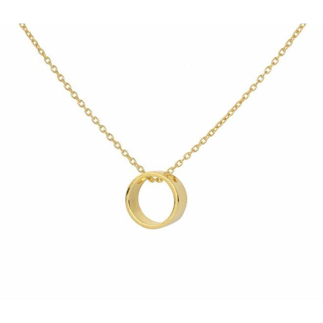 Halskette Ring Anhänger Silber vergoldet - 1545