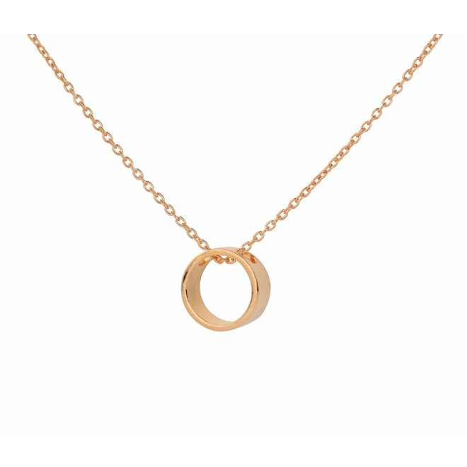 Necklace circle pendant rose gold plated silver - 1546