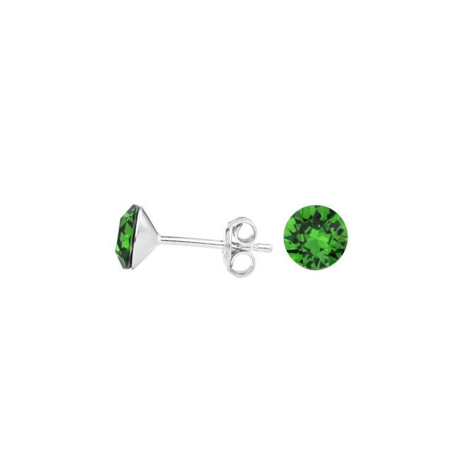 Oorbellen groen kristal oorstekers 6mm - zilver - 1558