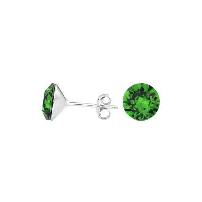Oorbellen groen kristal oorstekers 8mm - zilver - 1559