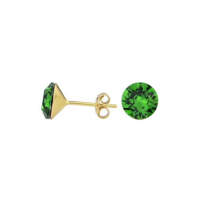 Earrings green crystal 8mm - gold plated silver - 1561