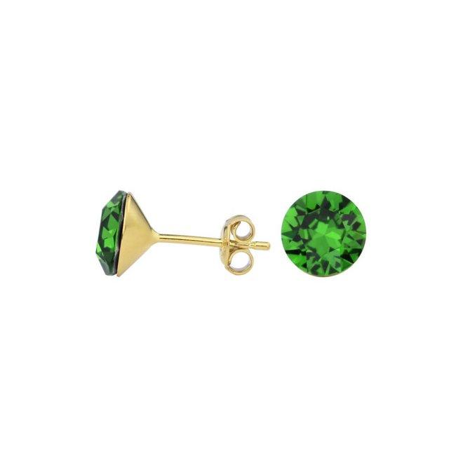 Oorbellen groen kristal 8mm - verguld zilver - 1561