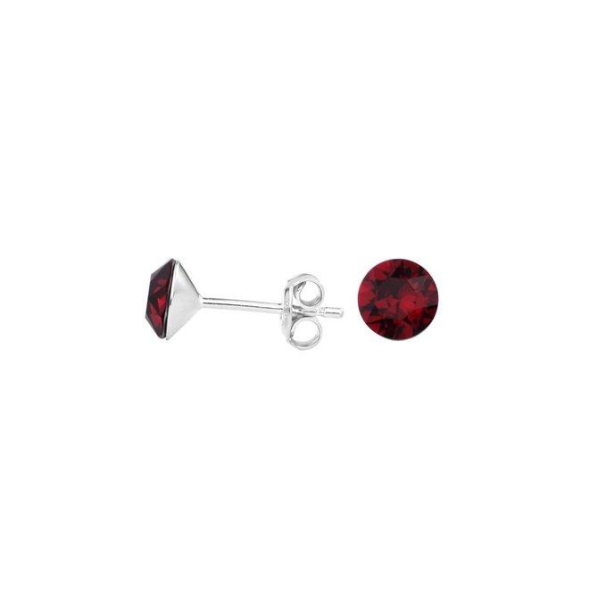 Ohrringe rot Kristall Ohrstecker 6mm - Silber - 1564