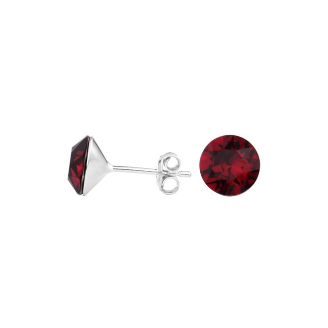 Earrings red crystal ear studs 8mm - silver - 1565