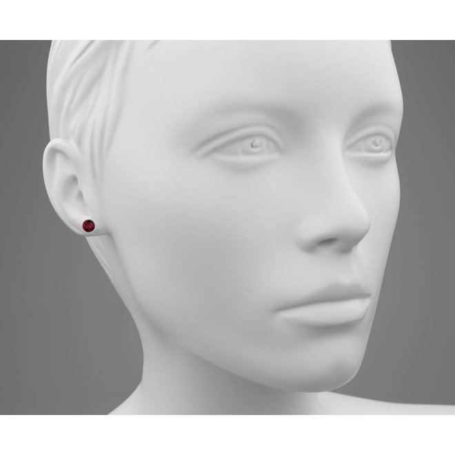 Earrings red Swarovski crystal ear studs 6mm - gold plated silver - ARLIZI 1566 - Lucy