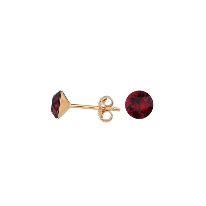 Earrings red crystal 6mm - rose gold plated silver - 1568