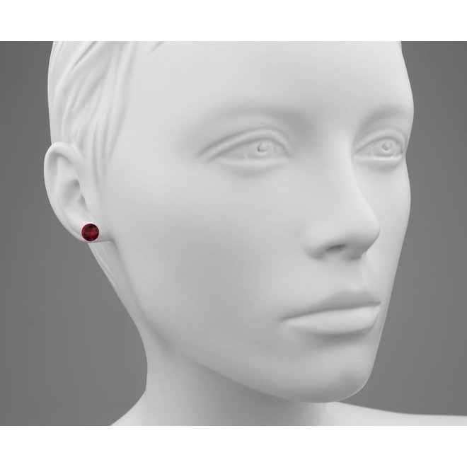 Earrings red Swarovski crystal ear studs 8mm - rose gold plated silver - ARLIZI 1569 - Lucy