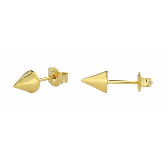 Earrings spike studs - gold plated silver - 1571
