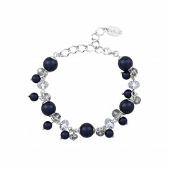 Armband blauw parels kristal - sterling zilver - 1348