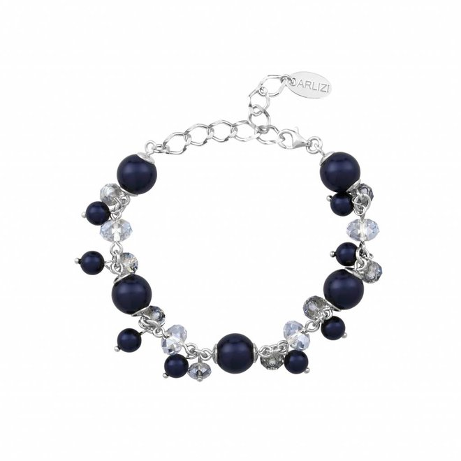 Armband blau Perle Kristall - Sterling Silber - 1348
