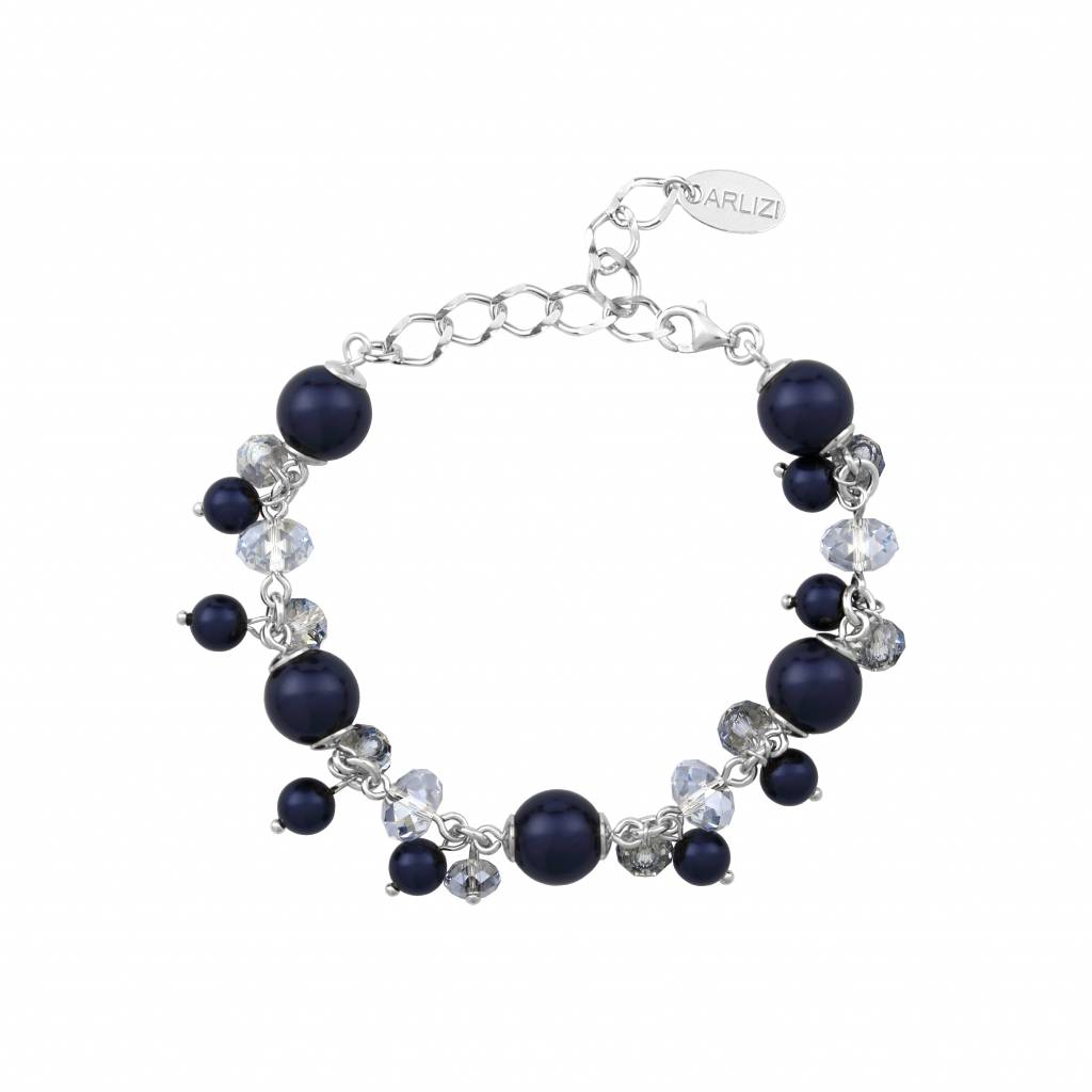 b29cf5a37 Bracelet blue Swarovski pearls crystal - sterling silver - ARLIZI 1348 -  Marla