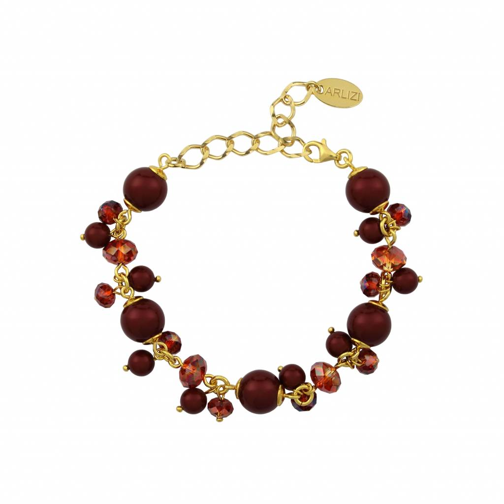 Bracelet Swarovski Crystal Pearls Red Sterling Silver Gold Plated