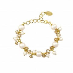 Bracelet cream pearls crystal - silver gold plated - 1351