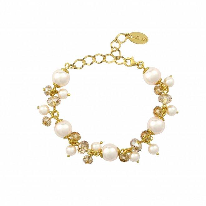 Armband creme Perle Kristall - Silber vergoldet - 1351