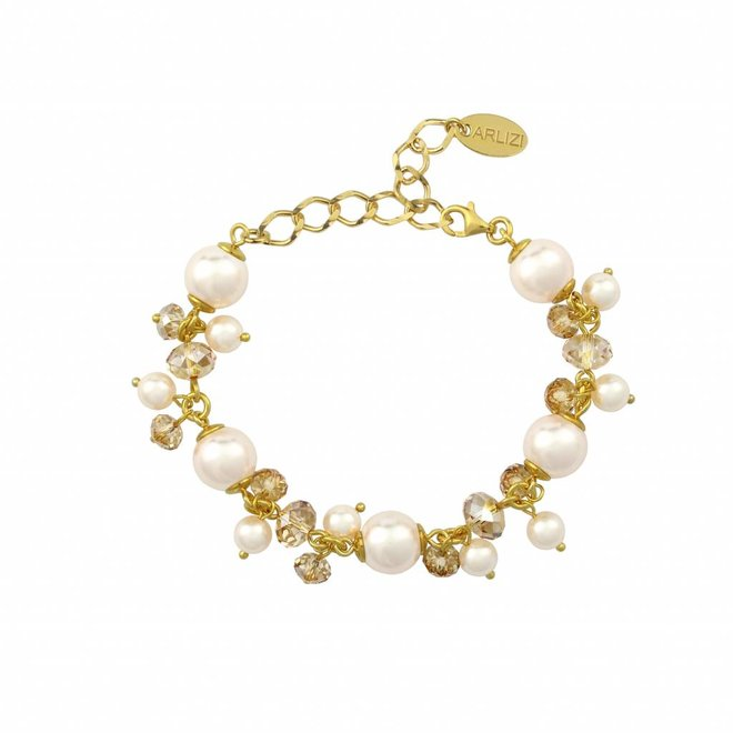 Armband crème Swarovski parels goudkleurig kristal - verguld sterling zilver - ARLIZI 1351 - Marla