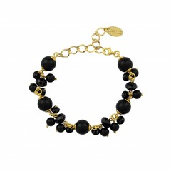 Bracelet black pearls crystal - silver gold plated - 1363