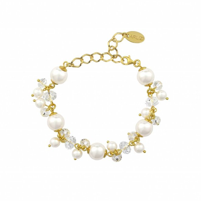Bracelet white pearls crystal - silver gold plated - 1366