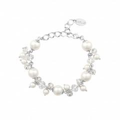 Armband wit parels kristal - sterling zilver - 1345