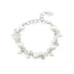 Bracelet white pearls crystal - sterling silver - 1345