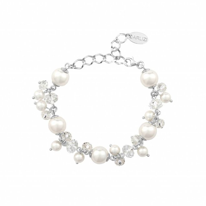 Armband weiß Perle Kristall - Sterling Silber - 1345