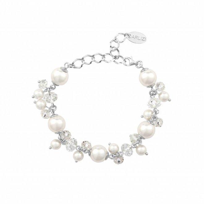 Bracelet white Swarovski pearls crystal - sterling silver - ARLIZI 1345 - Marla