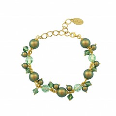 Bracelet green pearls crystal - silver gold plated - 1357