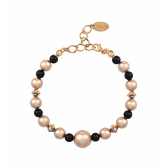 Pearl bracelet rose gold black - silver rose gold plated - 1496