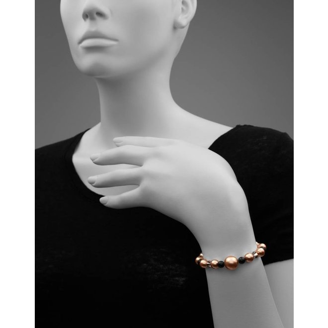 Pearl bracelet rose gold black Swarovski crystal pearls - rose gold plated silver - ARLIZI 1496 - Freya