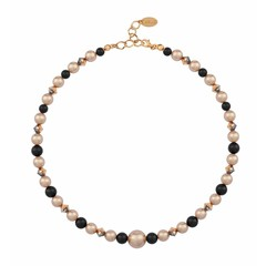 Pearl necklace rose gold black - silver rose gold plated - 1495