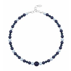 Parelketting donkerblauw - sterling zilver - 1497