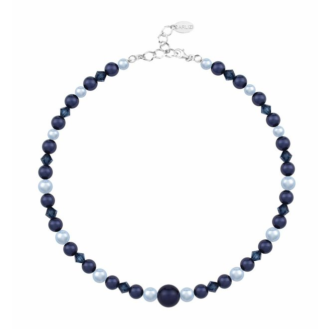 Pearl necklace dark blue - sterling silver - 1497