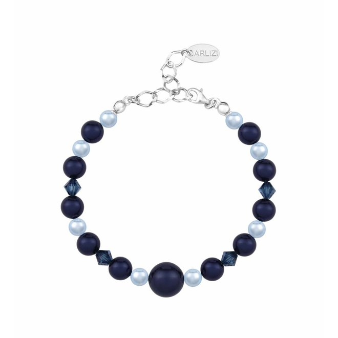 Parel armband donkerblauw - sterling zilver - 1498