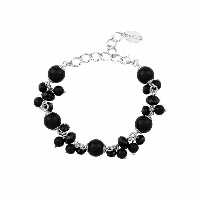 Armband parels kristal 925 zilver zwart - 1572