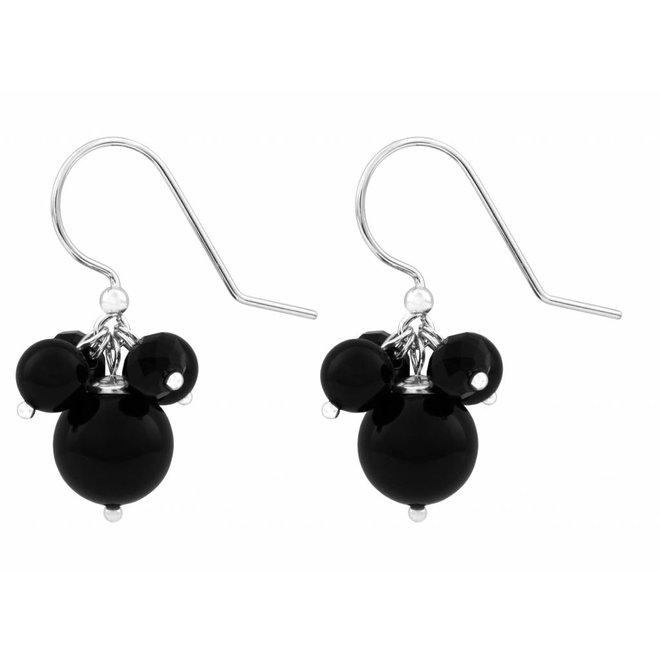 Earrings pearl crystal 925 silver black - 1573