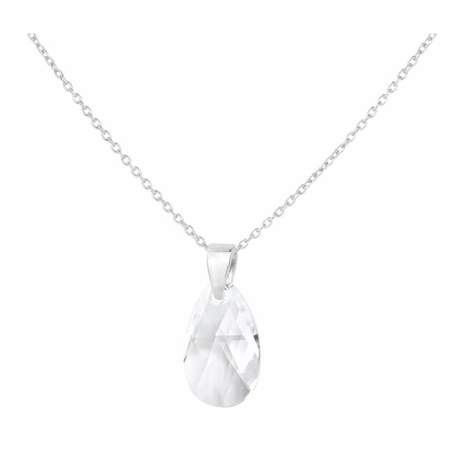 Necklace Swarovski crystal drop transparent - sterling silver - ARLIZI 1591 - Romy