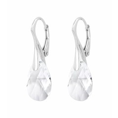 Earrings sterling silver Swarovski crystal drop - 1592