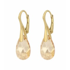 Earrings sterling silver gold plated Swarovski crystal drop - 1596
