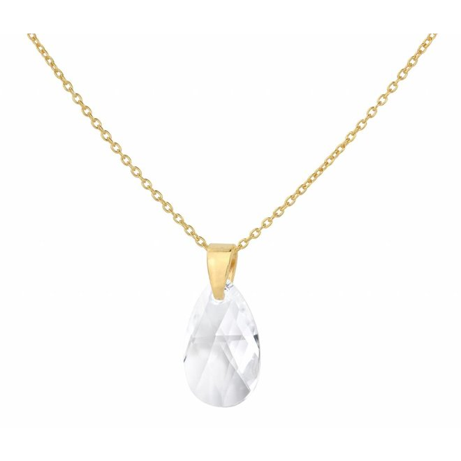 Halskette Swarovski Kristall Tropfen transparent - Sterling Silber vergoldet - ARLIZI 1597 - Romy