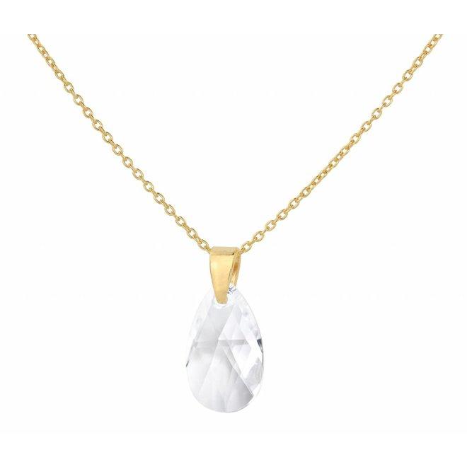 Necklace Swarovski crystal drop transparent - sterling silver gold plated - ARLIZI 1597 - Romy
