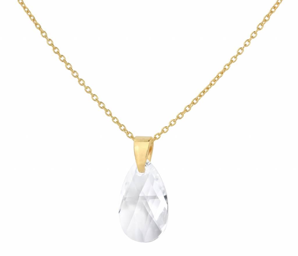 a59bbfcc0 Necklace Swarovski crystal drop transparent - sterling silver gold plated -  ARLIZI 1597 - Romy