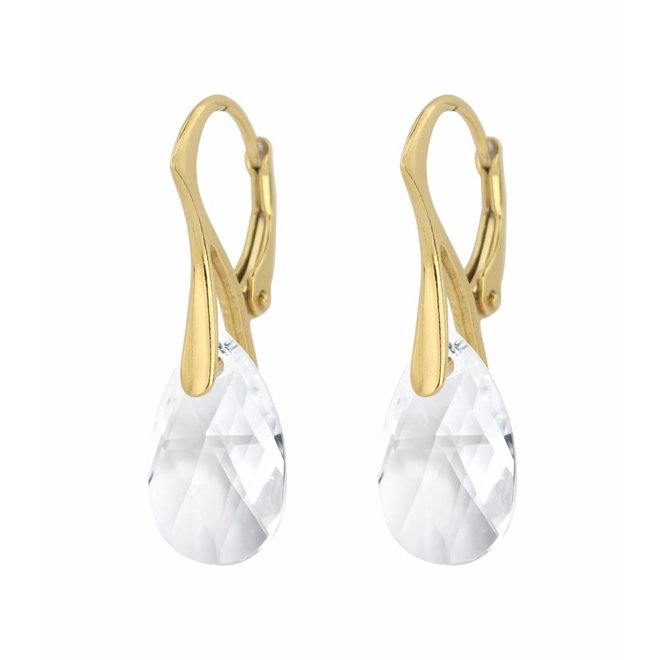 Earrings sterling silver gold plated Swarovski crystal drop transparent - ARLIZI 1598 - Romy