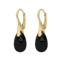 Earrings sterling silver gold plated Swarovski crystal drop - 1600